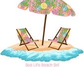 Sea Life Beach Set - With and Without Water -  Original Art - sea life beach umbrella, beach umbrella art, beach chair art