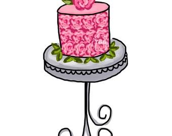 Preppy Pink Rose Cake  - Original Art Digital Download, cake clip art, cake on stand art, cake on pedestal art