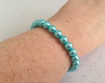 Light Blue Pearl Bracelet, Aqua Blue Wedding Jewelry, Light Blue Bridesmaid Gift, Blue Beaded Jewelry, Light Blue Pearl Jewelry