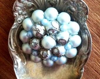 "Misty blue ""BLOOM"" necklace."