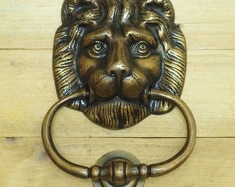 "6.22"" Inches Antique Vintage Solid Brass Lion King Head front Door KNOCKER with Pull Ring Knocker Door Protector"
