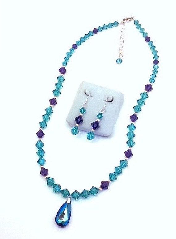 Blue Zircon and Purple Velvet  Swarovski Crystal Necklace & Earrings