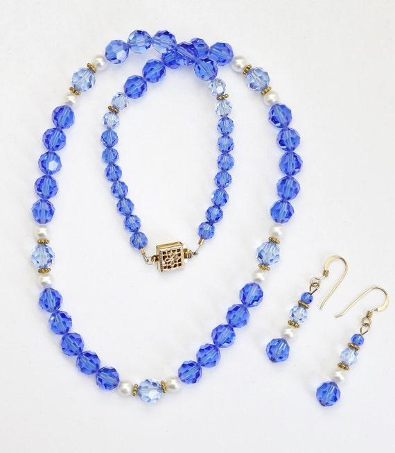 Sapphire Swarovski Crystal Necklace & Earrings