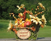 Rustic Country Market Basket Centerpiece Silk Flowers Apples and Berries in Metal Basket Rustic Home Decor Fall Centerpiece Harvest Basket
