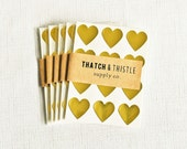 48 Metallic Gold Mini Heart Stickers - 3/4 Inch Envelope Seals Wedding Gift Wrapping Party Invitations Small Embellish Packaging