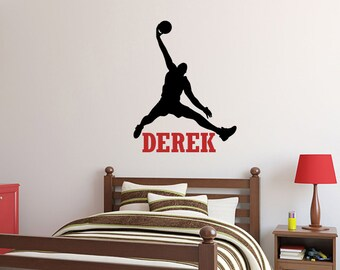 Basketball Wall Decal: Jumpman Decal - Boys Room Name Decor