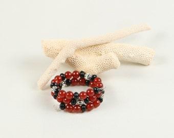 Bracelet bracelet, semi precious stones, carnelian and black stone bracelet, handmade bracelet, beaded jewelry, beaded jewellery, handmade