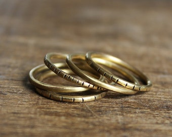 Slash Stacking Rings Brass Set of Five
