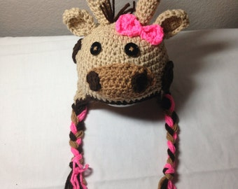 Crochet any size NB through adult giraffe earflap hat photography prop