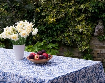 TABLECLOTH FINE COTTON Steel Blue with white paisley pattern block printed rectangle