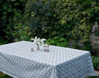 Block printed TABLECLOTH - Ash grey small paisley pattern