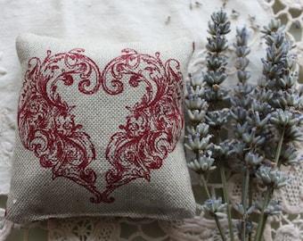 Lavender sachet Linen pillow Eastern European folk art heart natural linen French lavender