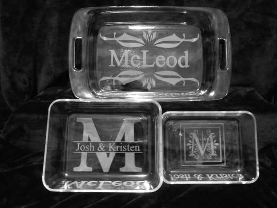 Etched Glass Casserole Dish