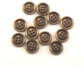 """11 - 19mm Metal Antique Brass Tone Raised Rim 4 Hole Flat Back Buttons #GM-12-25  Jewelry Buttons 3/4"""" Buttons"""