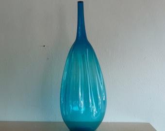 Zeller Large Floor Vase Blue Vase Mid Century Glass Handblown Glass Art Glass