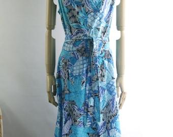 Aqua blue tropical dress. Blue floral wrap dress. Pineapple dress. 70s tropical cotton dress. Deadstock 70s dress