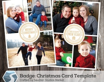 Christmas Card Template: Badge - 5x7 Photoshop Holiday Template for Photographers and Designers