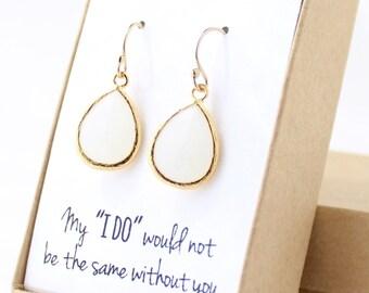 White Opal / Gold Teardrop Earrings - White Opal Earrings - White Bridesmaid Earrings - Bridesmaid Gift Jewelry - EB1