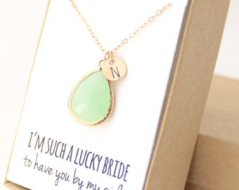 Light Mint / Gold Teardrop Necklace - Mint Bridesmaid Necklace - Bridesmaid Gift Jewelry - Mint and Gold Necklace - NB1