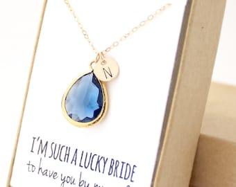 Navy Blue / Gold Teardrop Necklace - Navy Bridesmaid Necklace - Bridesmaid Gift Jewelry - Navy and Gold Necklace - NB1