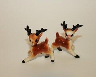 VIntage Porcelain Deer Salt and Pepper Shakers