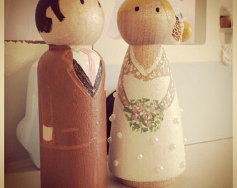A little you for your big day! Wooden, fully personalised wedding cake toppers (9cm tall) Bride & Groom