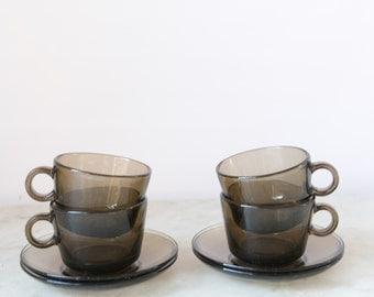 Vintage Amber Coffee Cup Set
