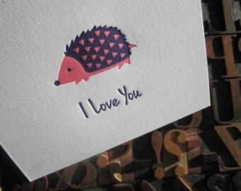 I Love You Hedgehog Letterpress Note Card