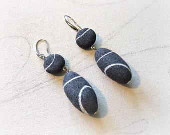 Beach pebbles earrings Recycled paper earrings