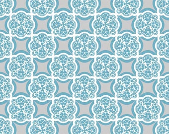 Medallion Fabric from Rosecliff Manor by Emily Taylor for Riley Blake Designs C3921 Teal - 1/2 yard