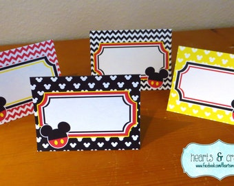 Mickey Mouse Party Table Tents / Food Labels / Place Cards -  FILE to PRINT Instant Download DIY