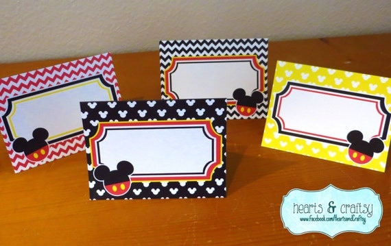 Mickey Mouse Party Table Tents Food Labels Place Cards