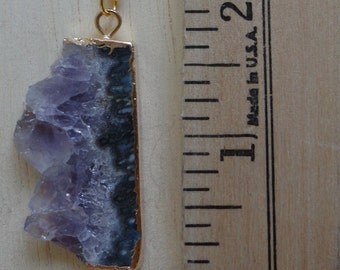 14K Gold or Silver Plated Sliced Amethyst Necklace