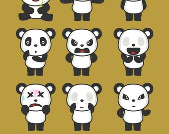 Panda Face Expressions - Illustration