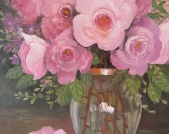 Roses In A  Glass Vase, 11x14, original oil painting