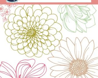 Flower clip art FLORAL hand drawn clipart, flower clip art, floral clipart, floral clip art, including 4 floral digital paper, floral design