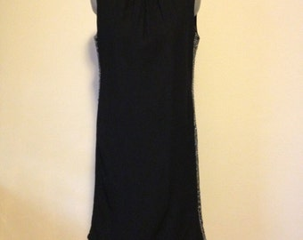 Black 1960s Dress with Silver and Rhinestone Detail