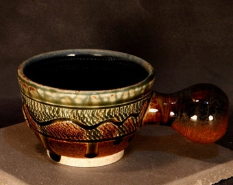 Porcelain Blend Shaving Mug, Chattered Texture with Carved Highlight, Chattered interior, Brown with Blue Highlight and Green Ash Glazes