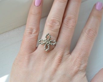 Art Deco Sterling Silver Flower Ring, Silver Marcasite Ring, Silver Art Deco Ring, Vintage Flower Ring