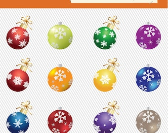 Colorful Christmas Balls Clipart. Christmas Ornaments Clipart. New Year Balls Clipart. Christmas Digital Images. 114