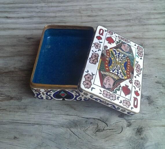 Vintage Playing Card Box Brass Playing Card Box