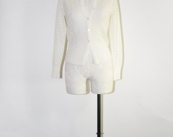 25% OFF 60s white knit cardigan / 1960s pointelle sweater / white acrylic lace cardigan