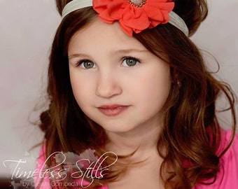 Penelope- Coral and Gold Headband, Coral Headband, Ivory Headband, Gold Headband, Coral Flower Girl Headband, Coral and Ivory Headband