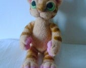 Needle felted animal  felted STRIPED CAT wool felted Cat Eco- friendly toy Soft sculpture cat Original design by LinenWoolRainbow
