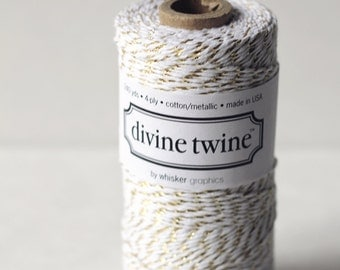 Limited edition - Gold & White  - 240 Yards - Cotton Bakers Twine -  Divine Twine