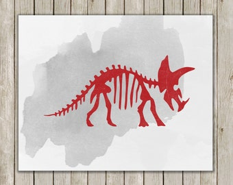 8x10 Dinosaur Wall Printable, Triceratops Art, Fossil Wall Art, Red and Gray Nursery Decor, Nursery Art, Poster, Instant Digital Download