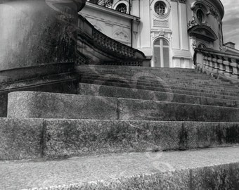 Schloss Solitude Stairs Stuttgart Germany Black & White Photograph