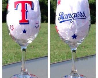 Texas Rangers Baseball Wine Glass 20 oz