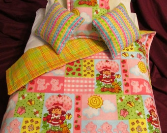 Strawberry Shortcake and Kittens Bedding for 18 inch, Bitty Baby, Cabbage Patch or American Girl Doll Bed