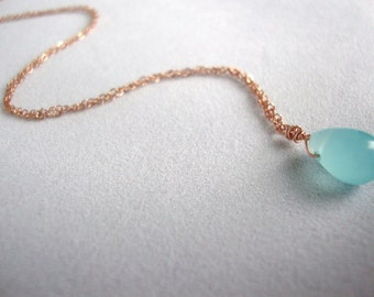Aqua Blue Chalcedony Rose Gold Filled Necklace - Handmade Jewelry - Everyday Necklace - Bridesmaid Necklace - Minimalist Jewelry